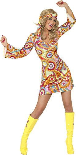Smiffy's Women's 1960's Hippie Costume, Dress and Headband, 60's Groovy Baby, Serious Fun, Size 10-12, (Groovy Baby Halloween Costume)
