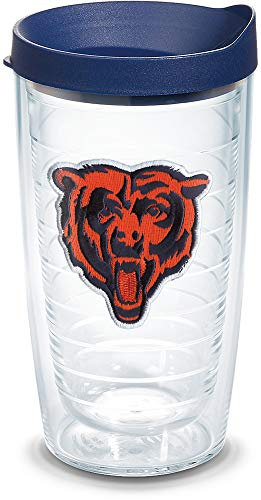 (Tervis 1064562 NFL Chicago Bears Bear Tumbler with Emblem and Navy Lid 16oz, Clear)
