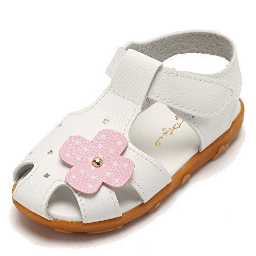 CIOR Girls' Closed-Toe Leather Solid Flower Outdoor Sport Casual Sandals(Toddler/Little (Little Girl Walking)