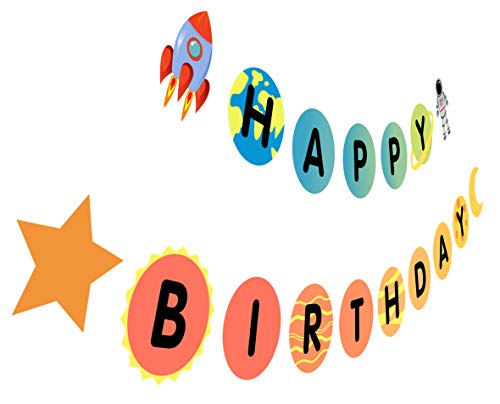 Outer Space Birthday Banner, Astronaut Birthday Sign, Solar System Moon Star Bday Party Decoration -