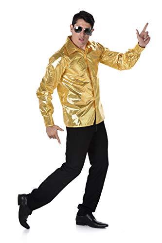 70s Disco Costume - Halloween Gold Sequin Mens Pimp Shirt Dance Fever, Medium ()