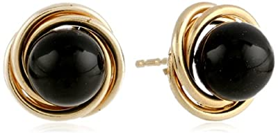 Onyx Stud Earrings with Swirl Setting in 14kt Yellow Gold