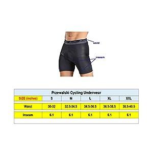 Przewalski Men's 3D Padded Cycling Underwear, Bike Liner Shorts - Excellent Breathability, Quick Dry (Medium, Black)