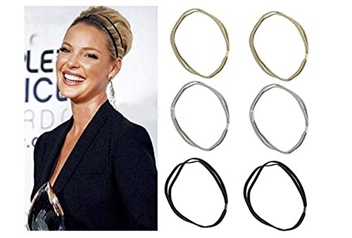 Shimmer Anne Shine Fashion Gold, Silver, and Black Women Glitter Elastic Double Hooped Headband