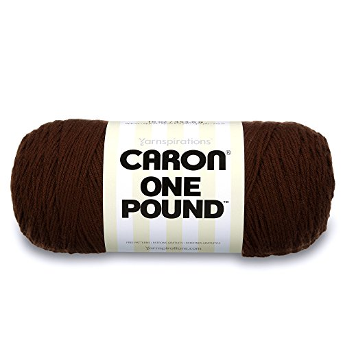 Caron  One Pound Solids Yarn - (4) Medium Gauge 100% Acrylic - 16 oz -  Espresso- For Crochet, Knitting & Crafting