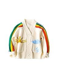 Mesinsefra Baby Girls Rainbow V-Neck Knits Cardigan Sweaters Sweatshirt Outerwear