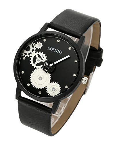(Top Plaza Womens Mens Fashion Casual Leather Analog Quartz Wrist Watch Gear Design Pattern Black Case Big Face Watches -)