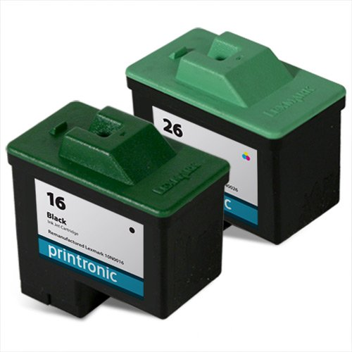 Printronic Remanufactured Ink Cartridge Replacement for Lexmark 16 10N0016, 26 10N0026 (1 Black 1 Color) (Black Cartridge Remanufactured 10n0016 Inkjet)