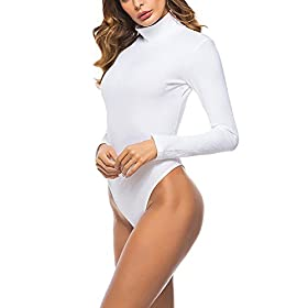 - 41qXqtoUbzL - Queen.M Women's Basic Solid Bodysuit Turtleneck Leotard Top Long Sleeve Bodycon Jumpsuit Stretchy Romper