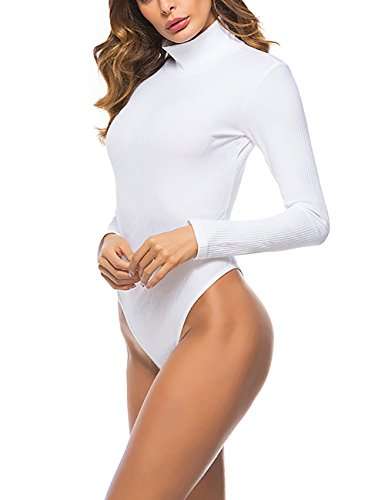 Queen.M Women's Basic Solid Bodysuit Turtleneck Leotard Top Long Sleeve Bodycon Jumpsuit Stretchy Romper White