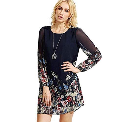 - TLTL Womens Floral Print Bowknot Sleeves Cocktail Mini Dress Casual Party Dress (M, Black -2)