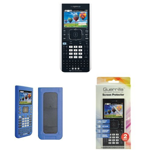 Texas Instruments TI-Nspire CX Graphing Calculator With Guerrilla Protective Silicone Case (Blue) And Military Grade Screen Protector Set. - Ti Nspire Screen