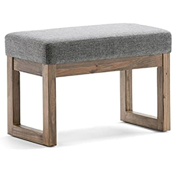 Simpli Home Milltown Small Ottoman Bench, Grey