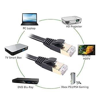 Computer Cables Yoton 1M//1.8M//3M//5M//10M//15M Ethernet Cable CAT7 10 Yoton LAN Network Cable Flat RJ45 Connectors for Modem Router Black Cable Length: 10m
