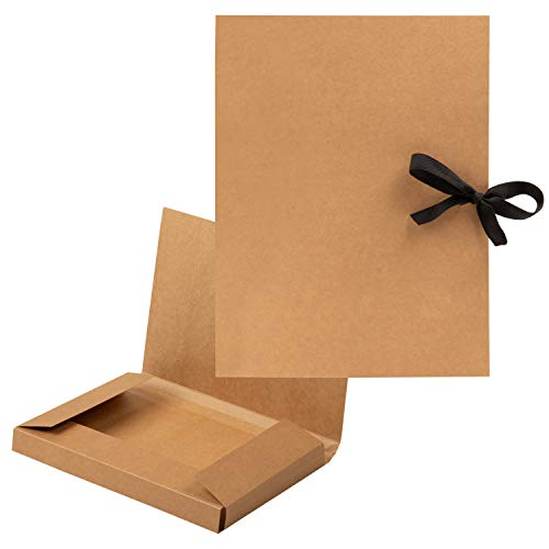 Brown Presentation Folders Bulk - 12-Pack Letter Size Kraft File Folders with String, Portfolio Folder, Office Supplies for Catalogs, Brochures, Resume, 12 x 9.25 Inches