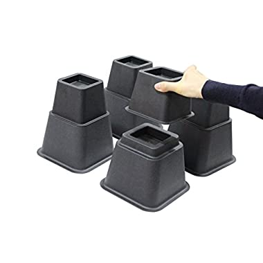 Jeronic 8 Inch Adjustable Bed Risers, 3 Height Option Risers, Furniture Riser Bed Riser and Bed Lifts, 4 sets
