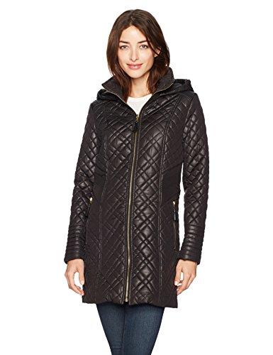 Via Spiga Women's Center Zip Diamond Quilt Coat with Hood, Black, Large