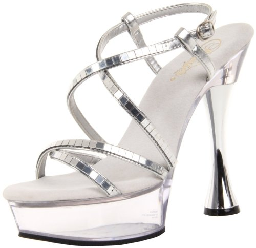 Clear Platform Sweet Shoes - Pleaser Women's Sweet-413/S-MIR/C Platform Sandal,Silver-Mirror/Clear,5 M US