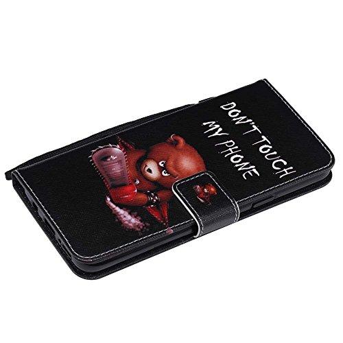 Hülle für Samsung S9 Plus, Galaxy S9 Plus Brieftasche Schutzhülle, Aeeque Einfach Skull Blumen Motiv Flip Tasche im Bookstyle mit Kartenfach Trageschlaufe Kunstleder Handyhülle Etui Wallet Case Cover  Bär