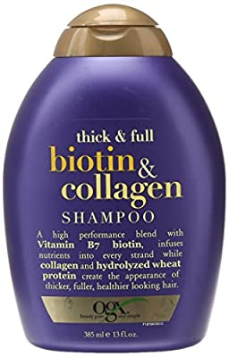OGX Shampoo with Thick and Full Biotin and Collagen, (1) 13 Fluid Ounce Bottle, Paraben Free, Sulfate Free, Sustainable Ingredients, Nourishing and Strengthening
