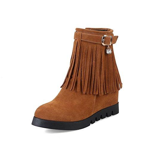ABL10271 BalaMasa Wedges Urethane Tassels Womens Buckle Yellow Boots Retro 0Bfq0pz