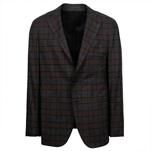 - Caruso Brown/Gray Check Cashmere 3 Roll 2 Button Sport Coat