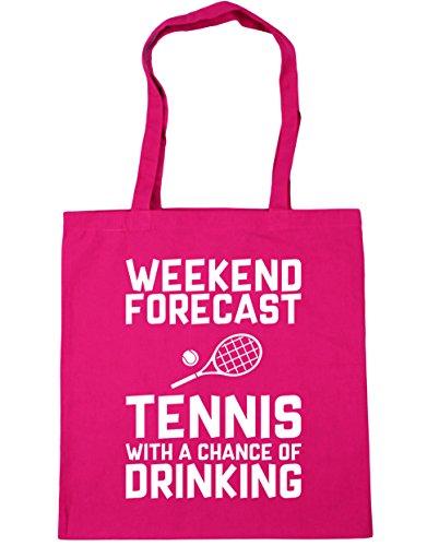 HippoWarehouse Wochenenden Forecast Tennis Mit a Chance of Trinken Einkaufstasche Fitnessstudio Strandtasche 42cm x38cm, 10 liter - Fuchsia, One size