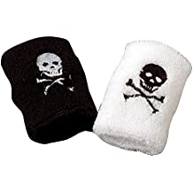 Black & White Pirate Jolly Roger Terrycloth Wristbands Set Of 2