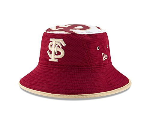 New Era College Baseball Hats - New Era NCAA Florida State Seminoles Men's Logo Topper Stretch Bucket, Maroon, One Size
