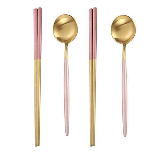 C&L 2 Spoons & 2 Pairs of Chopsticks Dinner Tableware Flatware - Pink Gold