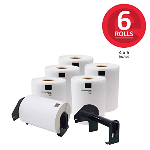 enKo - Compatible for Brother DK-1241-4 x 6 inch Shipping Labels - 6 Rolls, 1200 Labels + 2 Refillable Cartridges