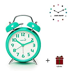FLOITTUY {Loud Alarm for Deep Sleepers} 4'' Twin Bell Alarm Clock with Backlight for Bedroom and Home Decoration (Mint Green)