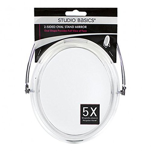 5X Magnification And Regular View Oval Standing Mirror - 1 Pkg -