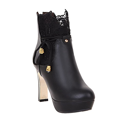 Latasa Womens Lace Platform High Heels Ankle Dress Boots Black 7b56S