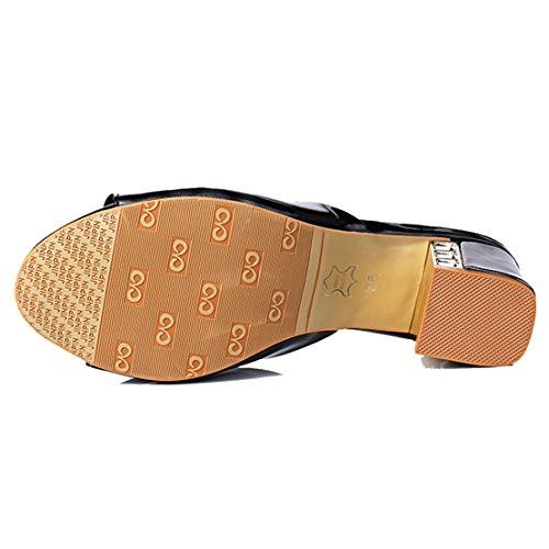 AIYOUMEI Damen Lackleder Peep Toe Blockabsatz Pantoletten mit Schleife und 5cm Absatz Bequem Modern Sandalen Schwarz