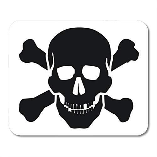 Semtomn Gaming Mouse Pad Symbol Black Skull on White Danger Crossbones Bone Cross 9.5