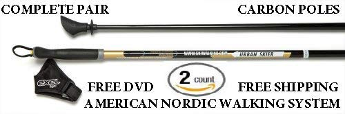 EXEL Urban Skier Nordic Walking Poles -Don't Get Scammed Twist-Locking Collapsible Poles from China! Durable 1-Piece Poles in 32 Different Lengths in-Stock and Ready to Ship!