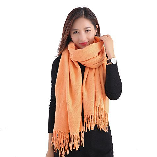 YCHY Large Extra Soft Cashmere Blend Women Pashmina Shawl Wrap Stole Scarf (Orange) (Large Wool Orange Sized)
