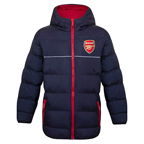 Arsenal FC Official Soccer Gift Boys Quilted Hooded Winter Jacket