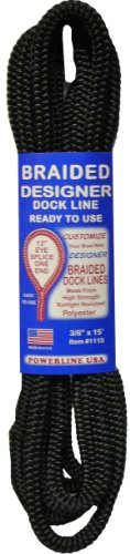 Rope USA Dock Line, Black, 3/8-Inch x - Unicord Line Anchor