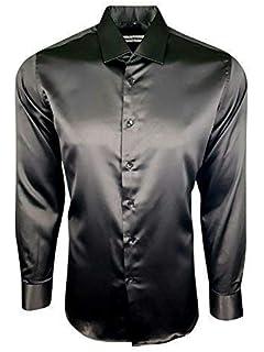Mens Italian Design Silver Silk Satin Finish Shirt Smart Slim Fit