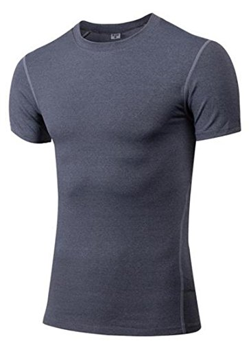 KXP Mens Running Base Layer Short Sleeve Top Compression Shirts Grey Medium by KXP