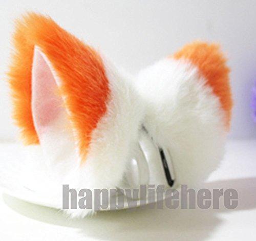 [Cat Fox Ears Kitty Costume Halloween Cosplay Fancy Dress Orange with white Kits] (Fox Costumes Kit)
