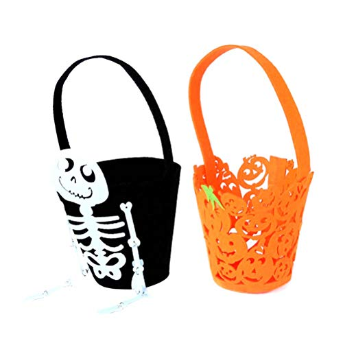 NUOBESTY Candy holder Pumpkin Skull,Halloween Candy Buckets Halloween Trick or Treat Bags Children's Gift Ghost Skull Candy Goodie Tote Bags for Perform Costumes Party Decoration Supplies 2pcs