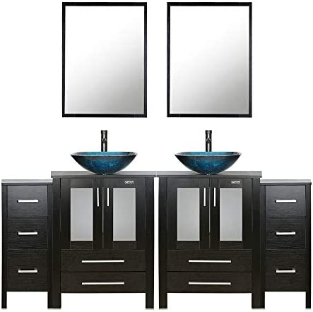 eclife 72 Bathroom Vanity Sink Combo Black W Side Cabinet Vanity Turquoise Square Tempered Glass Vessel Sink 1.5 GPM Water Save Faucet Solid Brass Pop Up Drain, With Mirror 2A10 2B11