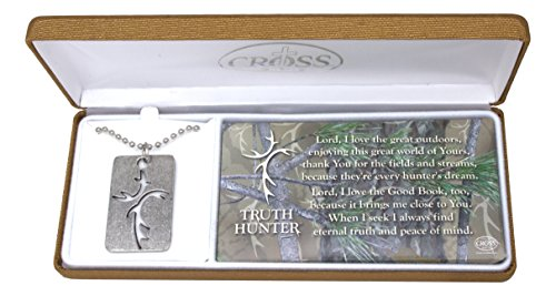 """Dicksons Mens Truth Hunter Dog Tag Style Necklace with Antler Cross Cutout on 18"""" Ball Chain"""