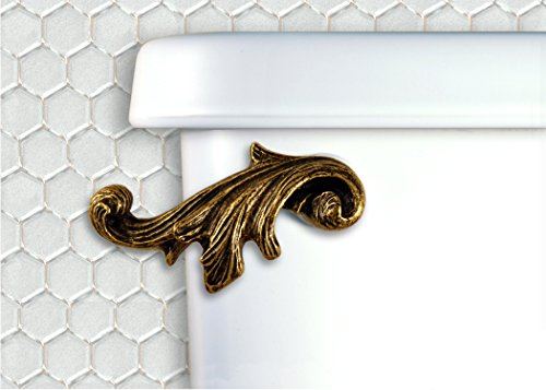 (Home Accents Acanthus Leaf Decorative Toilet Flush Handle Trip Lever Front Tank Mount, Antique Brass)