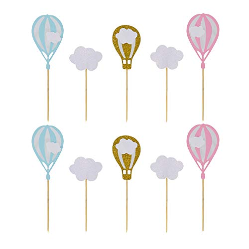 HZOnline White Cloud Hot Air Balloon Cupcake Toppers Kid Boy Girl Birthday Decorations DIY Home Wedding Theme Party Food Cake Picks for Baby Shower Decor(20PCS) ()