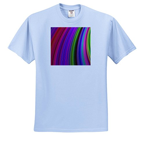 (3dRose David Zydd - Colorful Abstract Designs - Happy Spring Stripes - Multicolored Computer Generated Design - T-Shirts - Adult Light-Blue-T-Shirt XL (ts_284077_53))