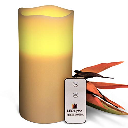 LED Lytes Flameless Candles Flickering - ONE Ivory Wax Amber Yellow Flame Pillars Battery Operated Remote Parties, Wedding Decorations